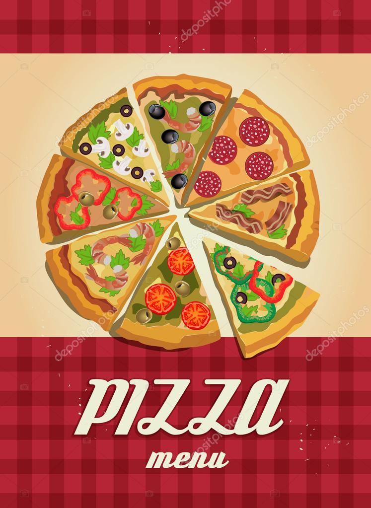 plantilla de menú de pizza, ilustración vectorial — Archivo Imágenes ...