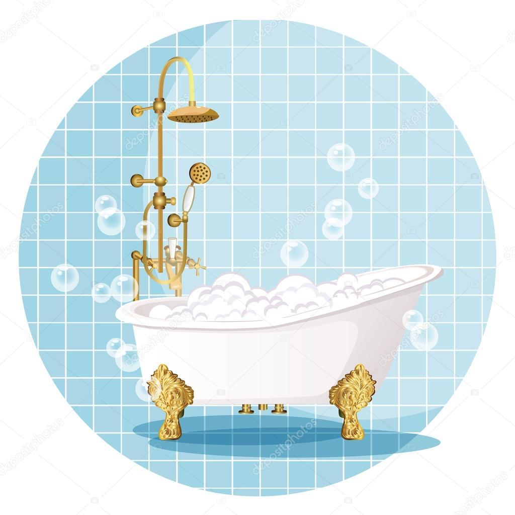 Bath. Luxury bathroom.