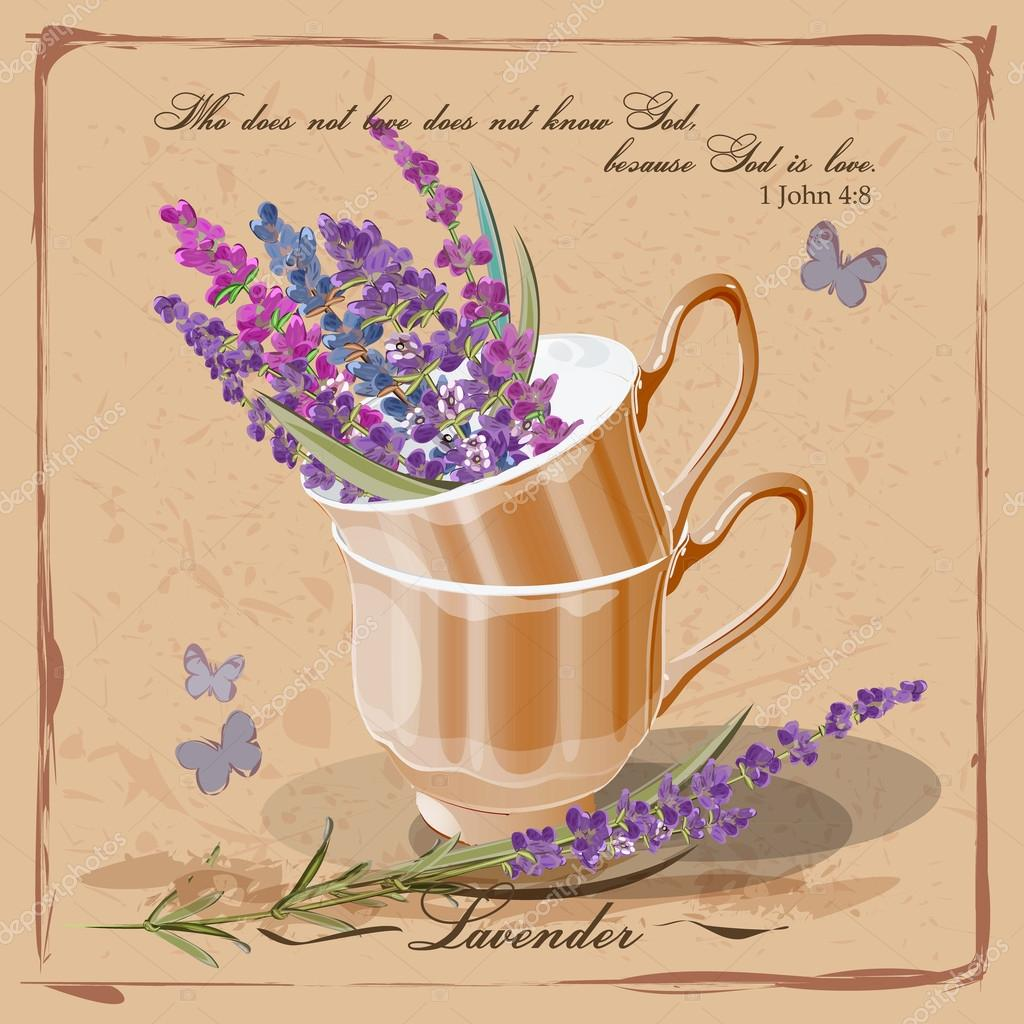 Lavender in a porcelain cup. Provence. Card in vintage