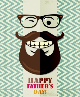 Father's day card in vintage hipster style. Retro poster.