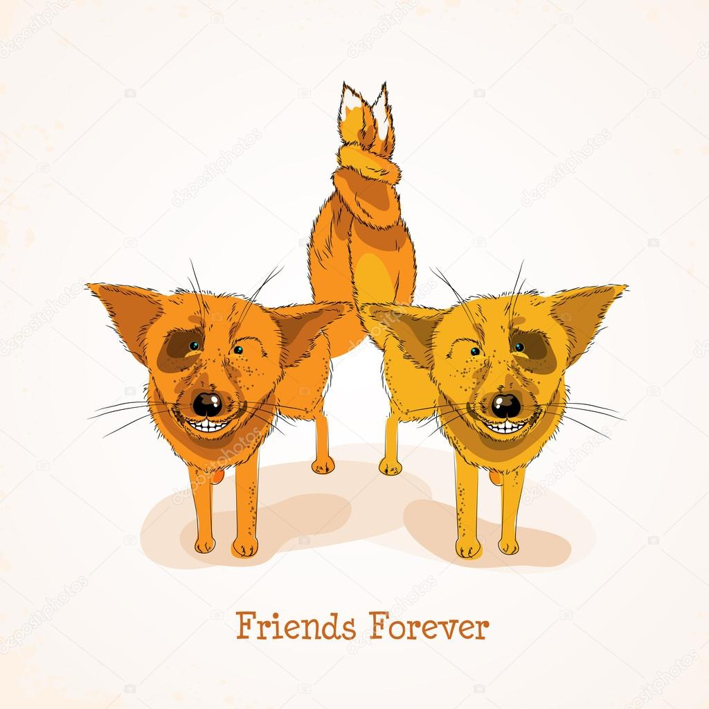 Happy Friendship Day Background With Cute Funny Foxes And Colorful Text  Friends Forever. U2014 Stock