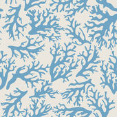 Coral seamless pattern on beige background in vintage style. Blue coral reef. Vector illustration.