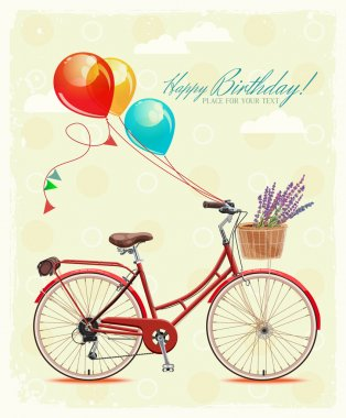 Birthday greeting card in cartoon style with bicycle and balloons. Vector illustration.