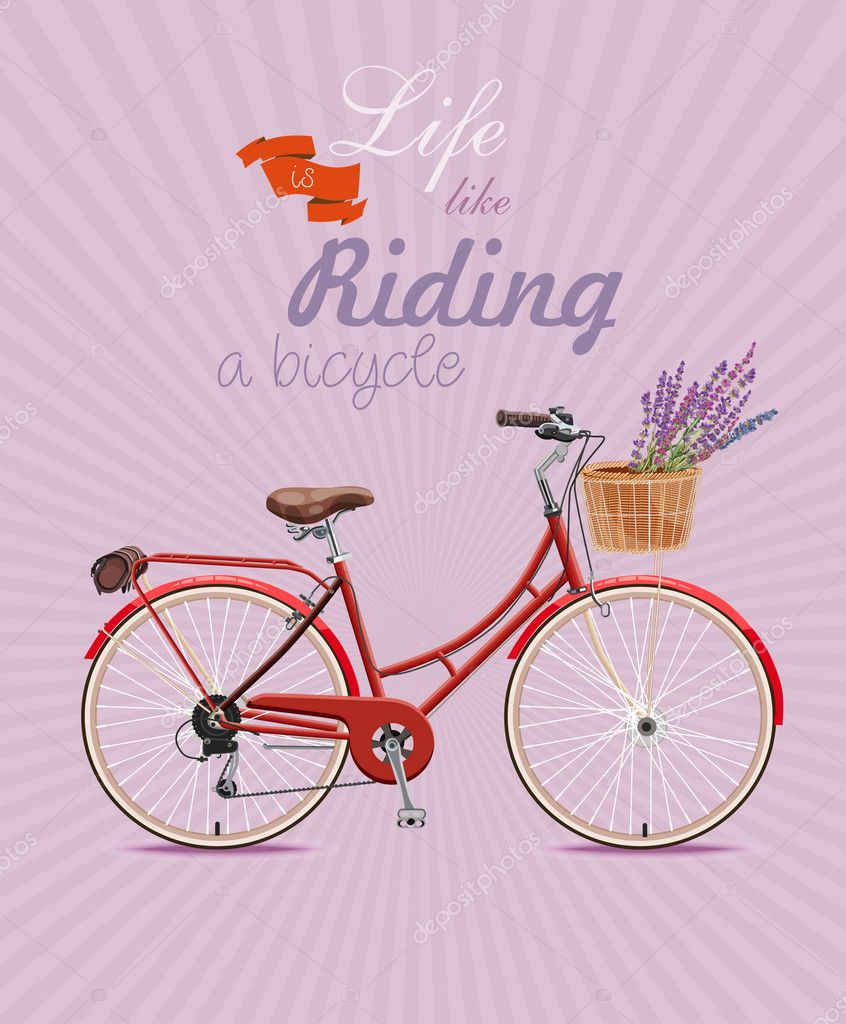 Bicycle with lavender in basket. Poster in vintage style.