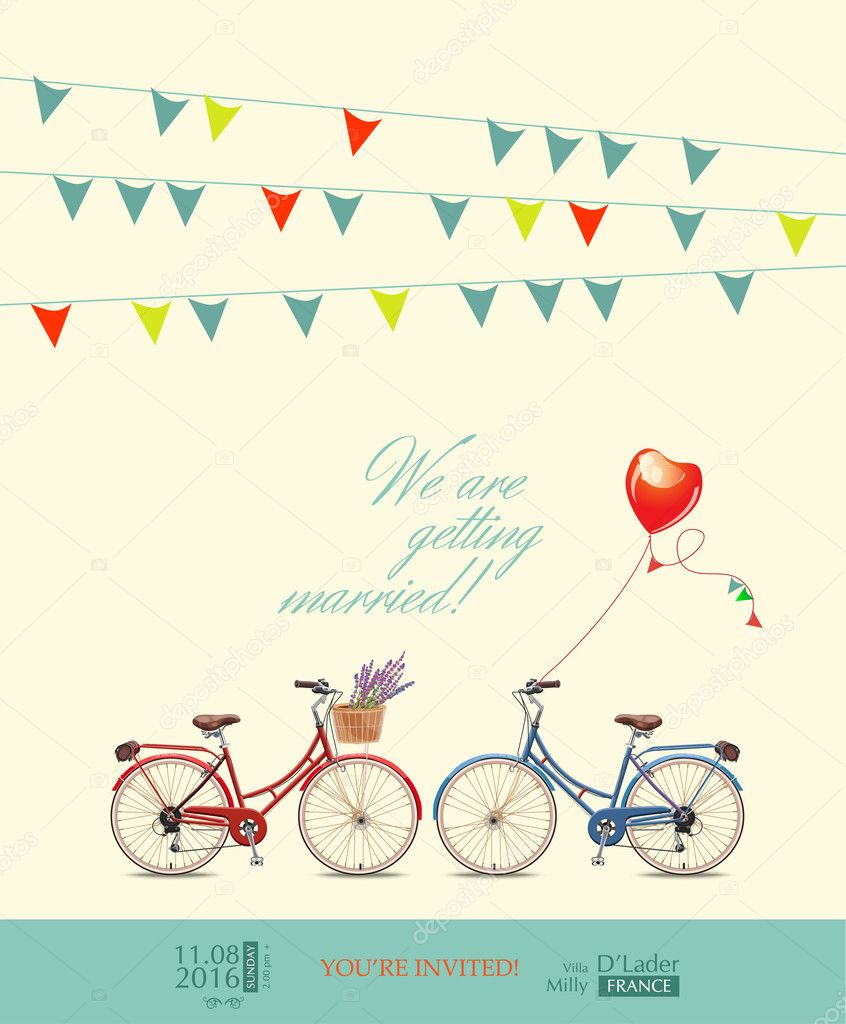 Postcard invitation to the wedding. Red and blue bikes for the bride and groom. Colorful pins. Balloon in the shape of heart. Vector illustration