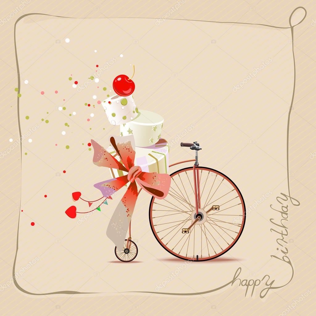 Vettore Torta Vintage Compleanno Buon Compleanno Auguri Romantici