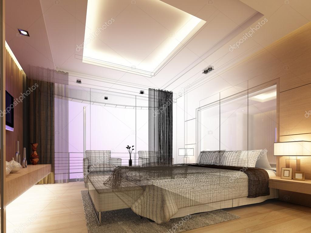 schets ontwerp van slaapkamer, 3d render — Stockfoto © yaryhee #50488757