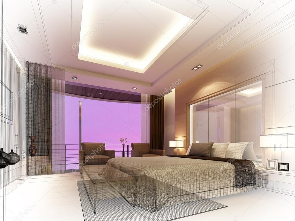 schets ontwerp van slaapkamer 3d render stockfoto