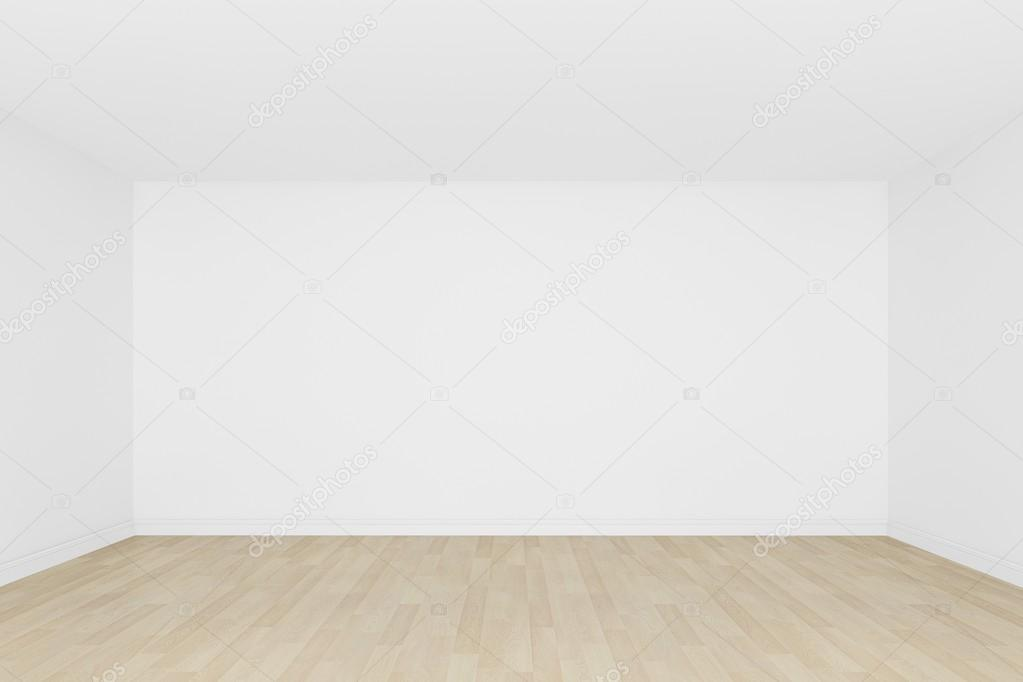 White Wall With Wood Floor Empty Room 3d Interior Stock