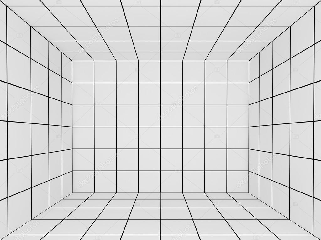 White space with perspective grid 3d stock photo for Room grid