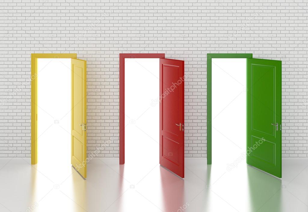 porte de couleur ouverte sur le mur blanc 3d photographie yaryhee 50580065. Black Bedroom Furniture Sets. Home Design Ideas