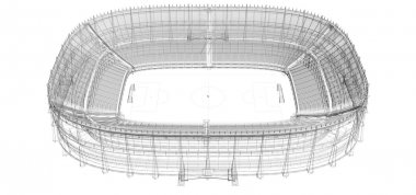 Wire frame of football or soccer stadium