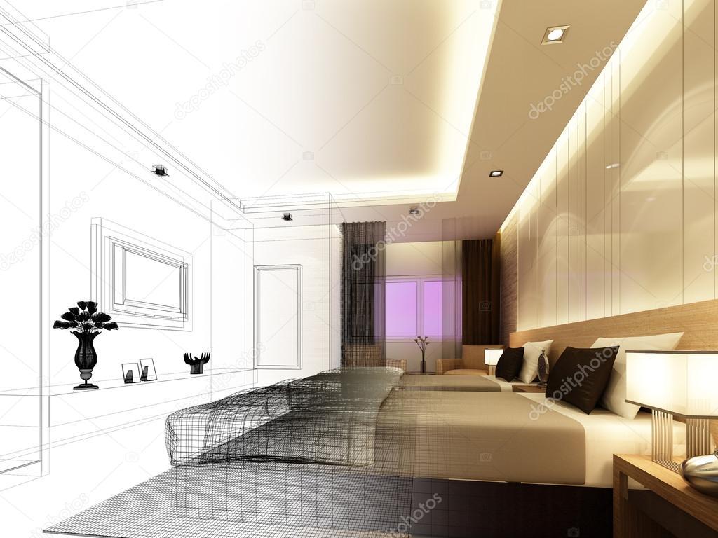boceto diseño de interiores dormitorios — foto de stock © yaryhee