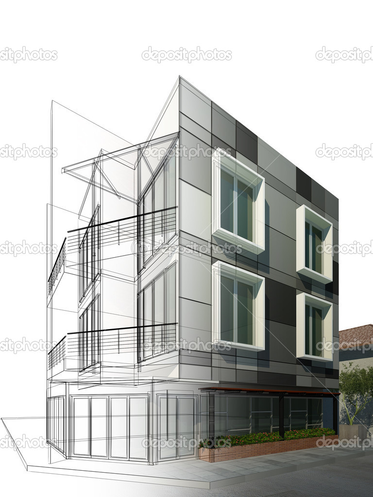 Dise o dibujo abstracto del edificio foto de stock for Diseno de edificios