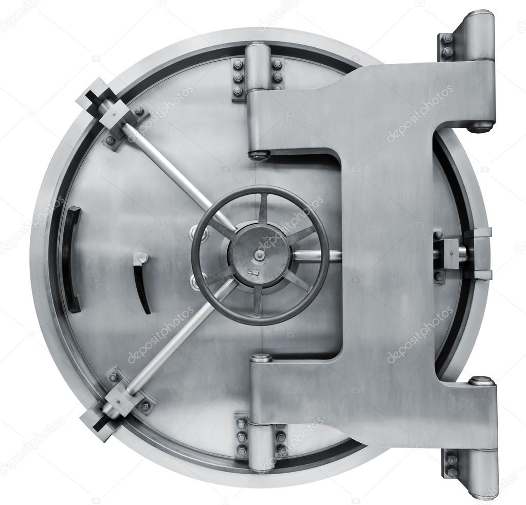 bank vault door isolated on white with clipping path u2014 stock photo
