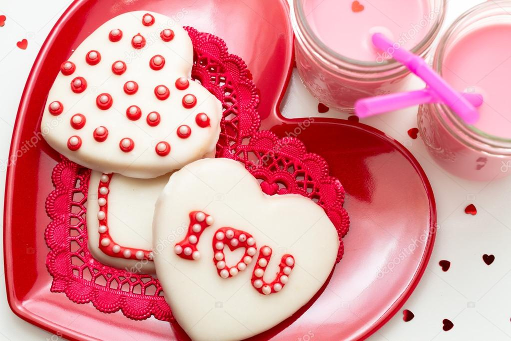 Galletas Decorada De San Valentín Foto De Stock