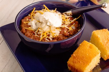 Elk Chili and Cornbread