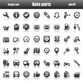 Fotografie Symbole Autoparts schwarz reflex