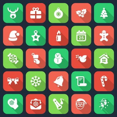 set christmas flat icons