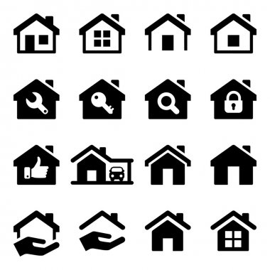 House icon set, black color, for business stock vector