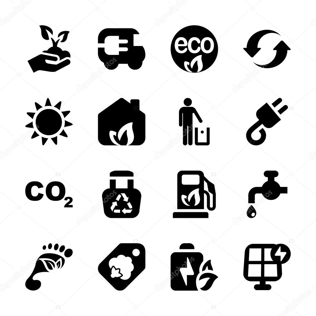Flat icons ecology set1
