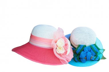 Pretty straw hat with on white background