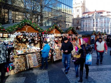 Christmas market on Vaclavske namesti, Prague, Czech Republic