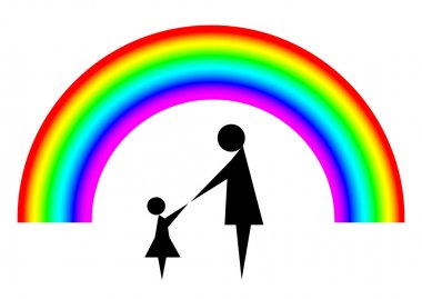 Mother and child with rainbow background