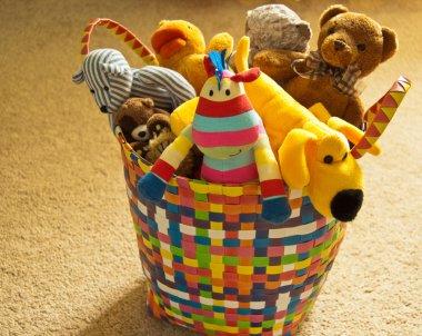 Basket of Plush Animal Toys