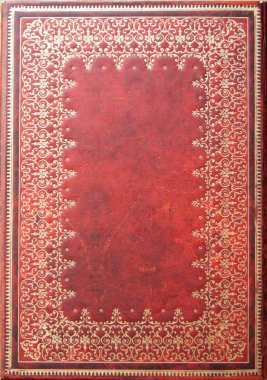 Gold Patterned Red Leather Diary Backdroung