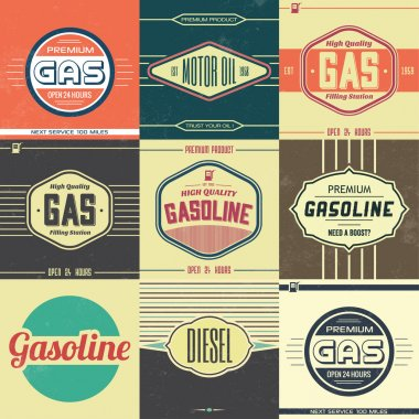 Collection of Retro Gasoline Signs - Motor Oil - Vintage Background stock vector