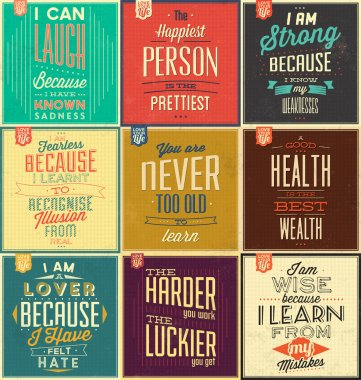 Set Of Vintage Typographic Backgrounds, Motivational Quotes, Retro Colors With Calligraphic Elements stock vector
