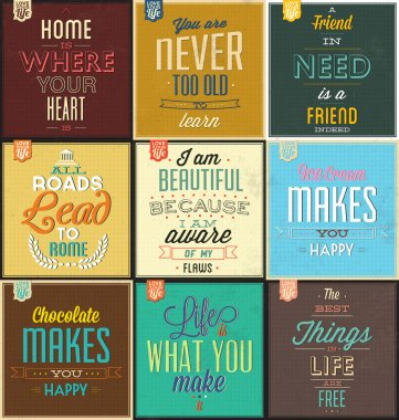 Set Of Vintage Typographic Backgrounds - Motivational Quotes - Retro Colors With Calligraphic Elements clip art vector
