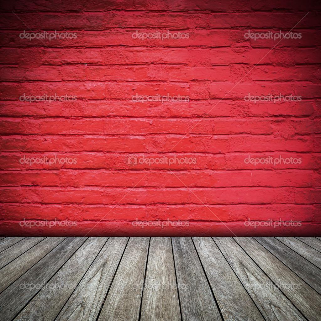 alten aus rotem backstein-mauer und holz-fußboden für innenraum