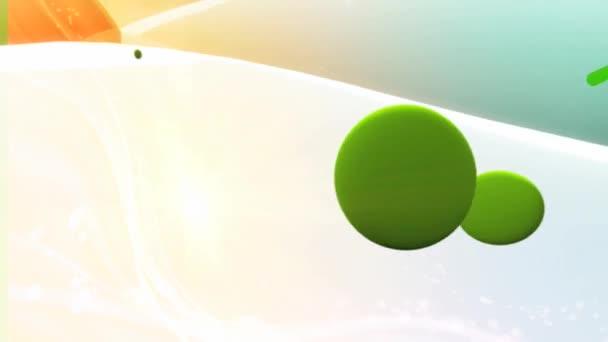 světlé pozadí s barevnými kruhy a čáry