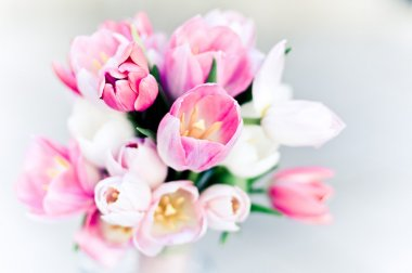 Pink wedding bouquet, tulips