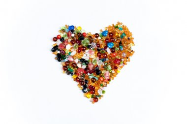 heart made colorful gems