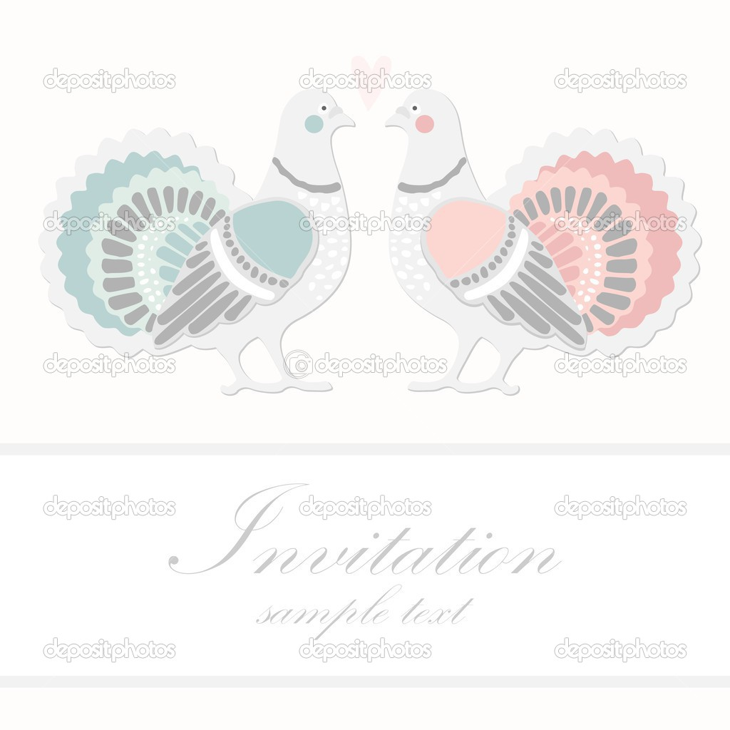 Wedding birthday card or invitation with dove pigeon greeting wedding birthday card or invitation with dove pigeon greeting postcard vector illustration stock bookmarktalkfo Images