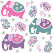 Fotografie nahtlose Elefant Kinder Muster Wallpaper Hintergrund mit Blumen und Herzen, Vektor-illustration