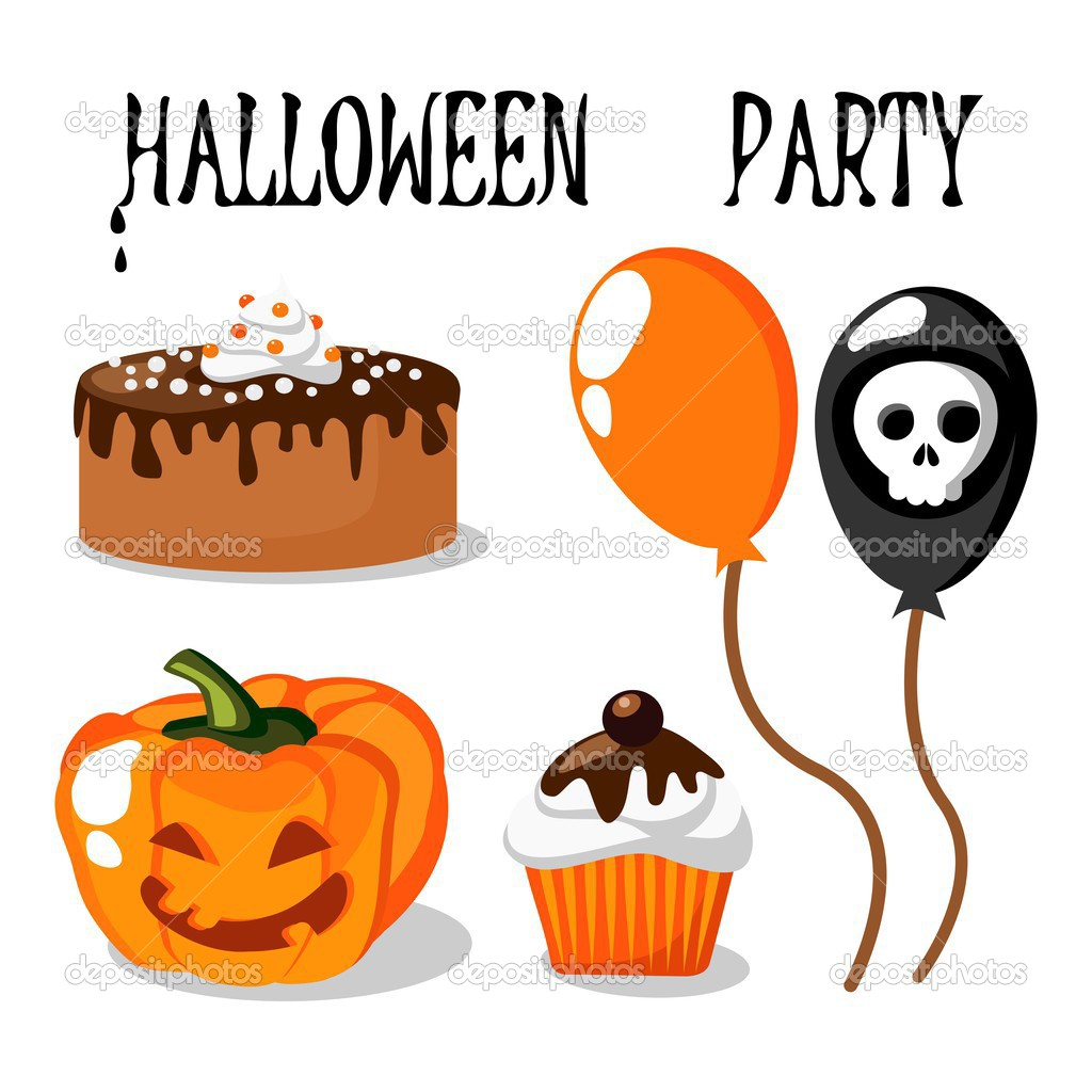 Cute halloween party vector set with food, balloons, pumpkin and ...