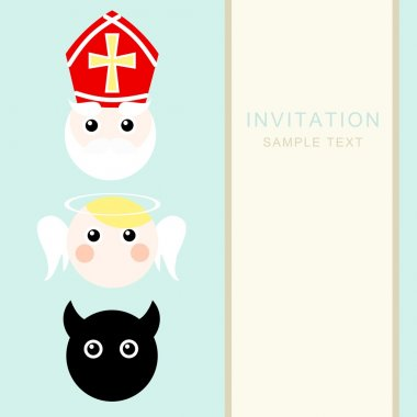 Cute santa claus, nikolaus with devil and angel, christmas invitation card, vector illustration, winter background