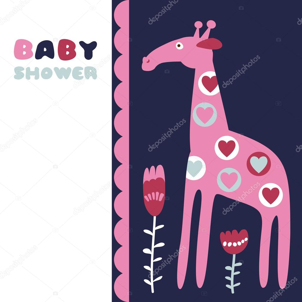 Cute baby shower birthday invitation card with giraffe, flowers and ...