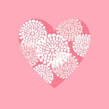 Valentine, wedding, birthday card or invitation, vector decorative illustrated background with floral ornamental heart