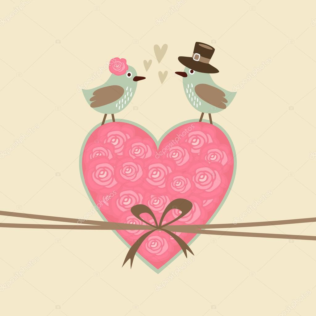 Cute wedding, valentine invitation card with birds in love ...