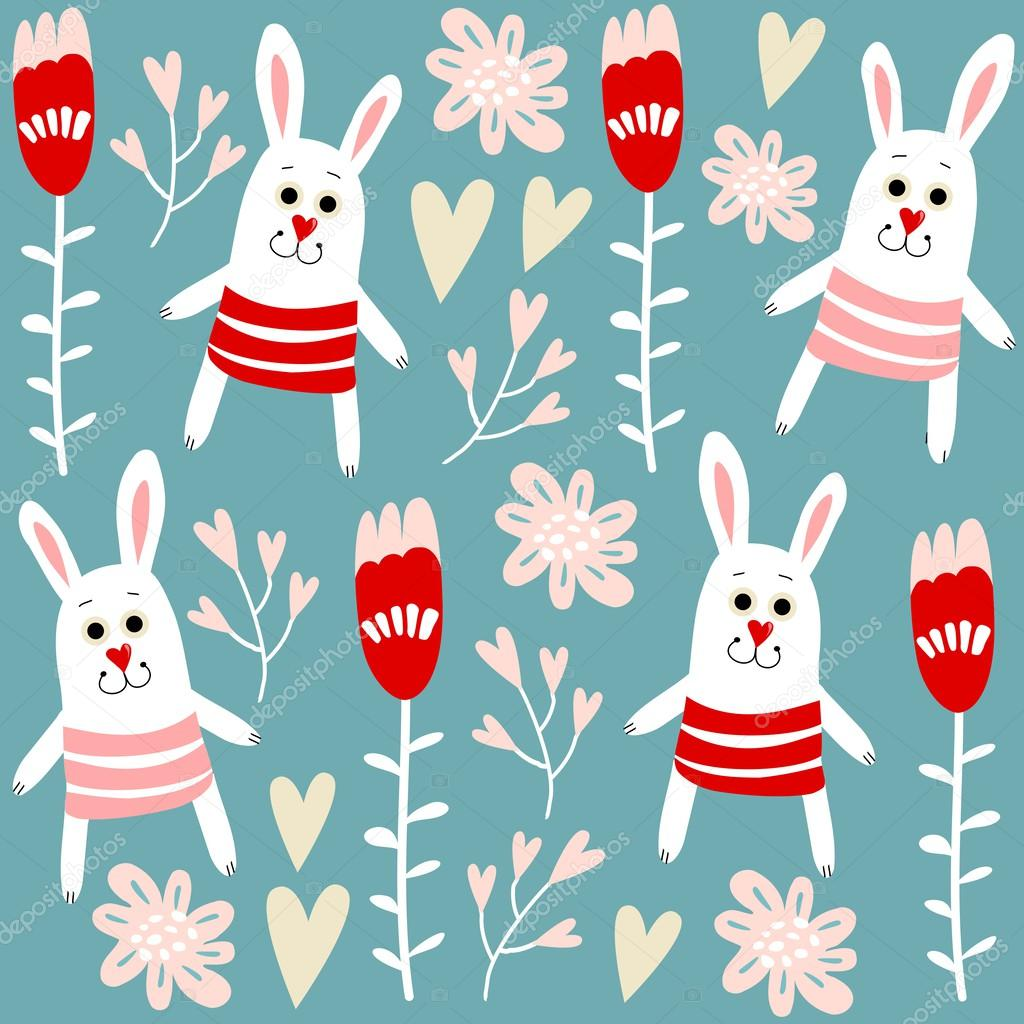 Cute seamless pattern with bunnies, hearts and flowers, vector illustration background