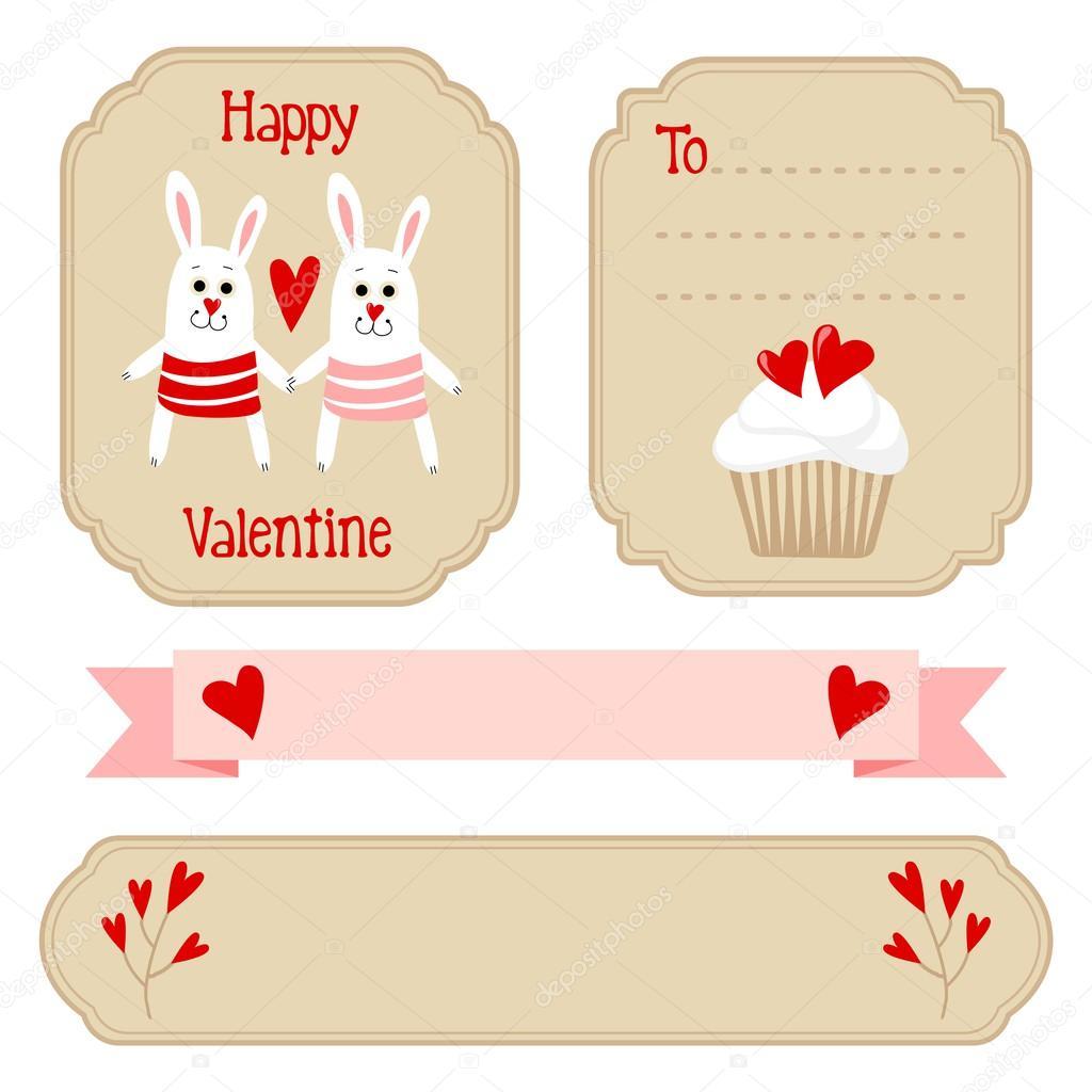 かわいいバレンタイン結婚式セット、ラベル、リボン、エンブレム、他の