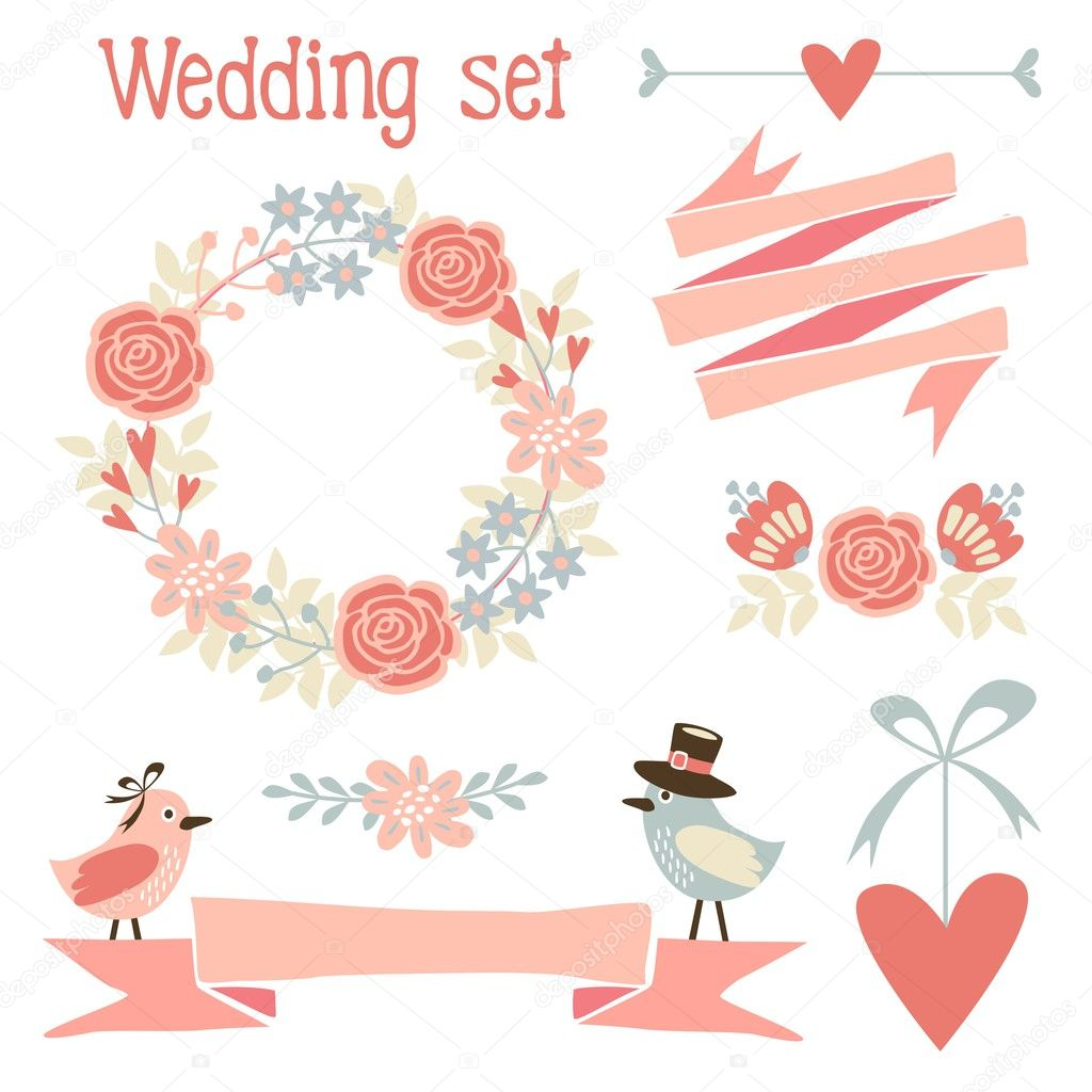 Cute wedding elements set with flowers, wreath, hearts ...