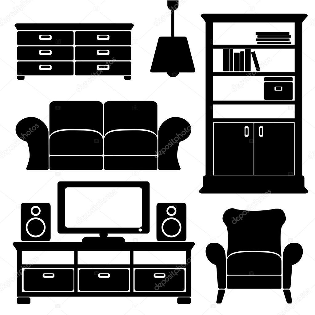 Furniture Ideas For Living Room Stock Vector: Living Room Furniture Icons Set, Black Isolated