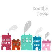 Fotografia simpatico set di doodle case con camino fumare, illustrazione vettoriale, disegno colorato