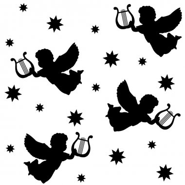 Christmas seamless pattern with silhouettes of angels, harp and stars, isolated black icons on white background, vector illustration